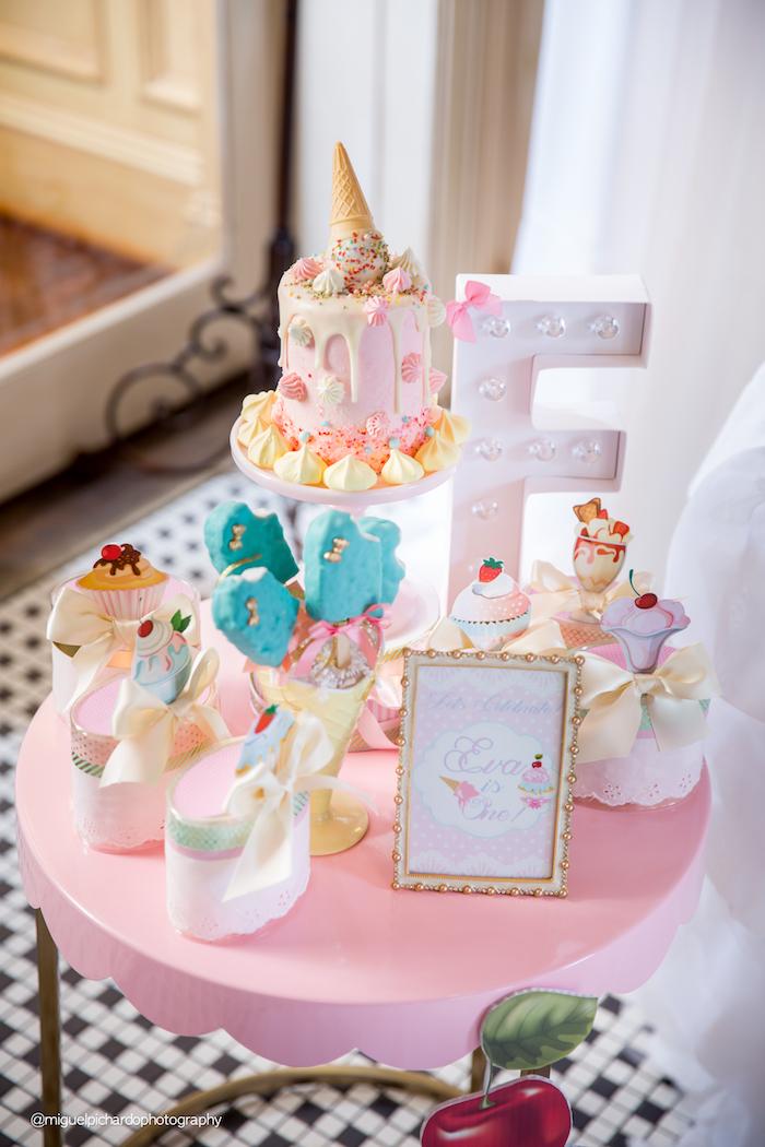 Mini party table from an Ice Cream Shop Birthday Party via Kara's Party Ideas KarasPartyIdeas.com (32)