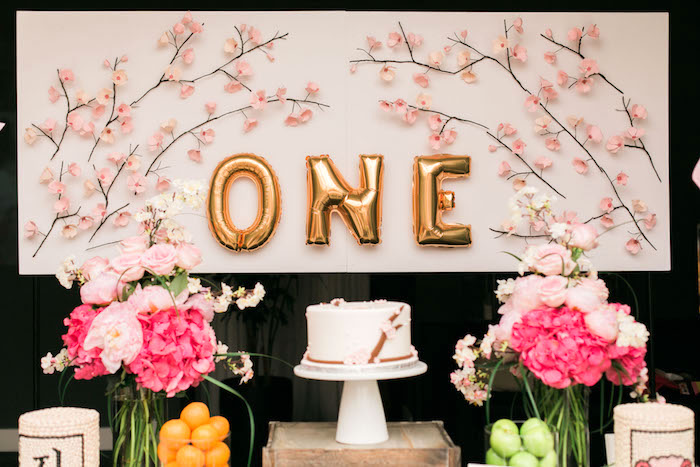 Cake table from a Japanese Cherry Blossom 1st Birthday Dol via Kara's Party Ideas | KarasPartyIdeas.com (30)