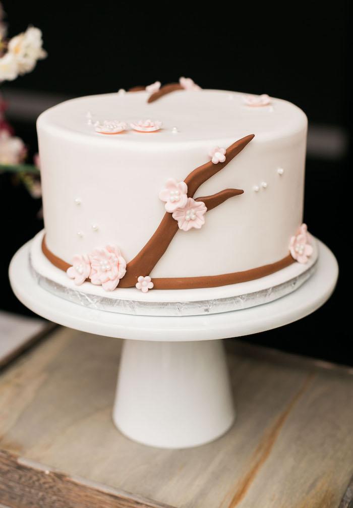 Japanese Cherry Blossom cake from a Japanese Cherry Blossom 1st Birthday Dol via Kara's Party Ideas   KarasPartyIdeas.com (28)