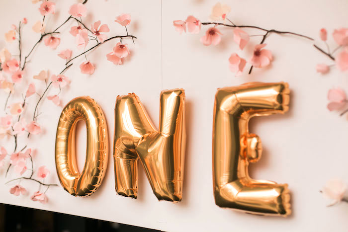 Mylar balloon banner from a Japanese Cherry Blossom 1st Birthday Dol via Kara's Party Ideas | KarasPartyIdeas.com (27)