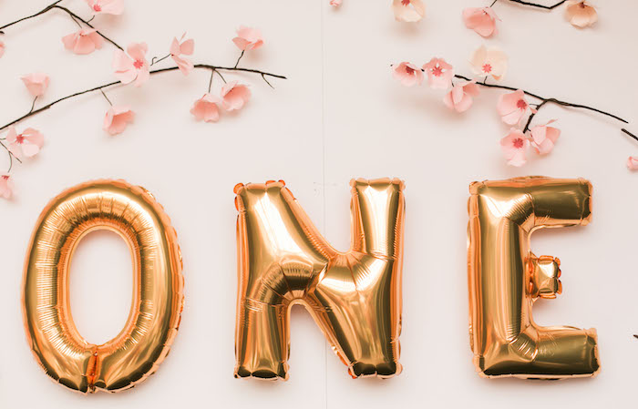 Mylar balloon banner from a Japanese Cherry Blossom 1st Birthday Dol via Kara's Party Ideas | KarasPartyIdeas.com (26)
