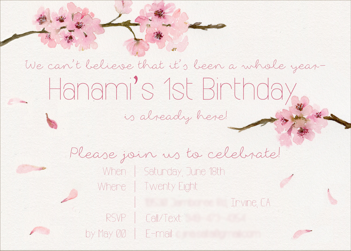 Karas Party Ideas Japanese Cherry Blossom 1st Birthday Dol – Japanese Birthday Invitations