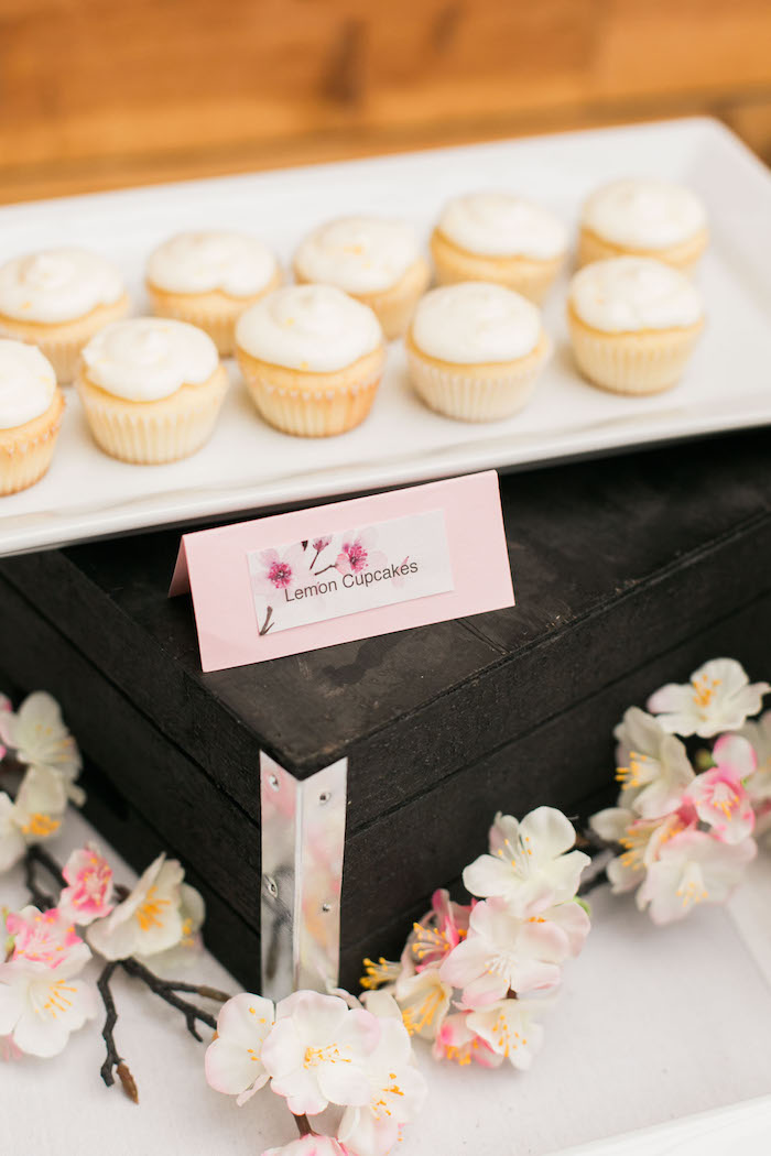 Lemon cupcakes from a Japanese Cherry Blossom 1st Birthday Dol via Kara's Party Ideas | KarasPartyIdeas.com (9)
