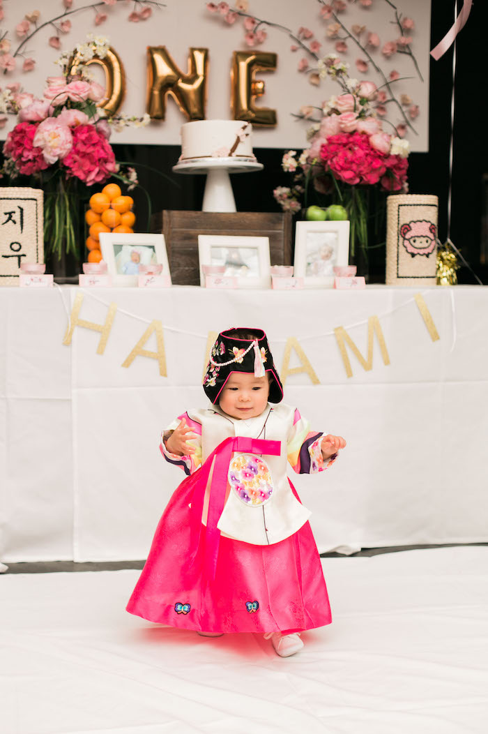 Traditional Dol from a Japanese Cherry Blossom 1st Birthday Dol via Kara's Party Ideas | KarasPartyIdeas.com (8)
