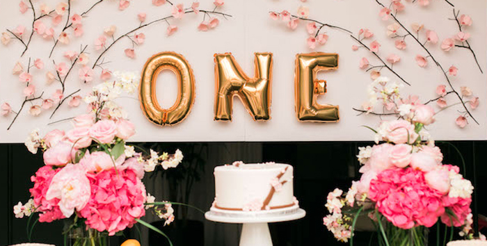 Japanese Cherry Blossom 1st Birthday Dol via Kara's Party Ideas | KarasPartyIdeas.com (1)