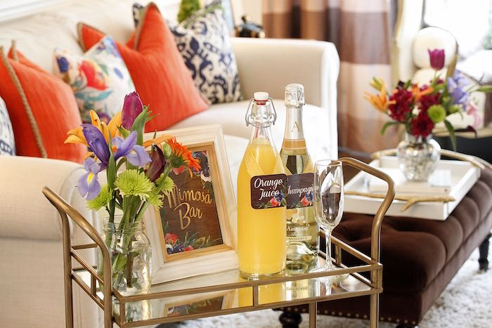 Mimosa Bar From A Ladies Floral Brunch Baby Shower Via Karau0027s Party Ideas |  KarasPartyIdeas.