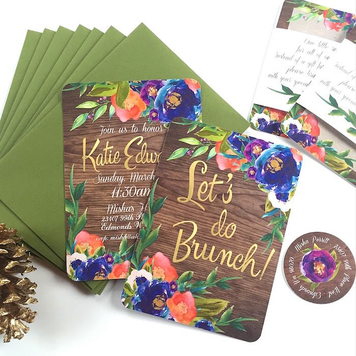 Invitation from a Ladies Floral Brunch Baby Shower via Kara's Party Ideas | KarasPartyIdeas.com (6)