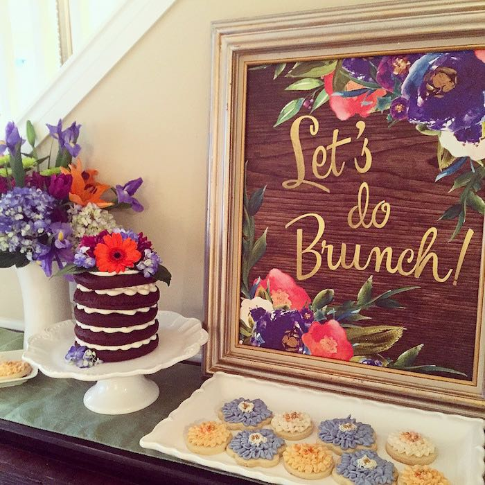 Dessert table from a Ladies Floral Brunch Baby Shower via Kara's Party Ideas | KarasPartyIdeas.com (4)