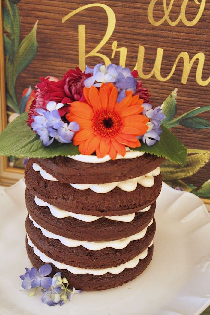 Chocolate naked cake from a Ladies Floral Brunch Baby Shower via Kara's Party Ideas | KarasPartyIdeas.com (20)