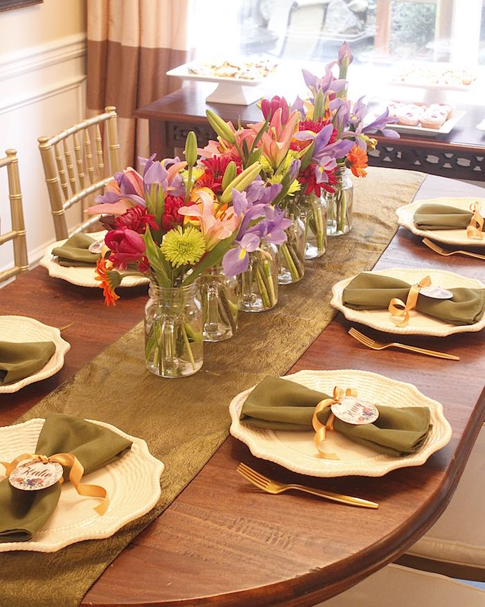 dining tablescape from a ladies floral brunch baby shower via kara 39 s