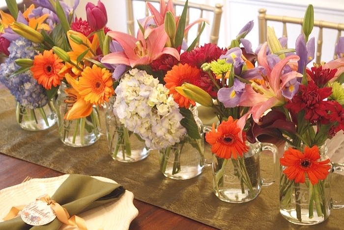 Floral arrangements from a Ladies Floral Brunch Baby Shower via Kara's Party Ideas | KarasPartyIdeas.com (12)