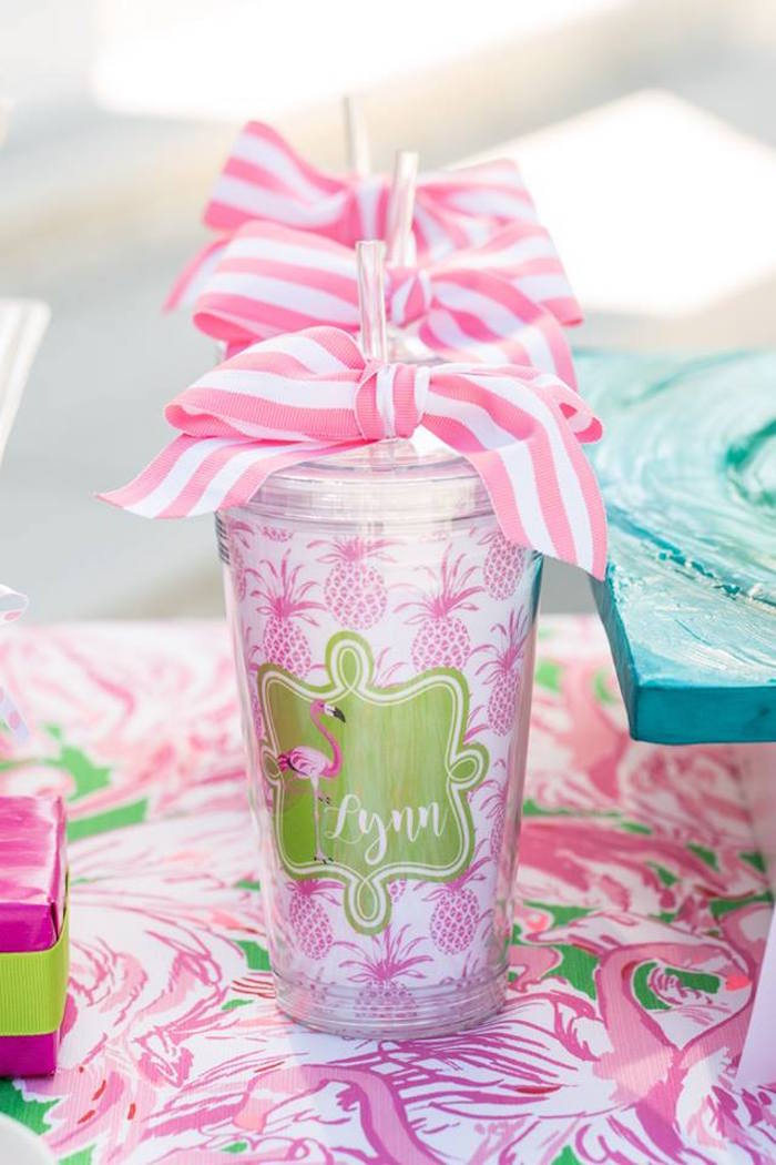 Personalized cups from a Lilly Pulitzer-Inspired Tropical Bridal Luncheon via Kara's Party Ideas | KarasPartyIdeas.com (21)