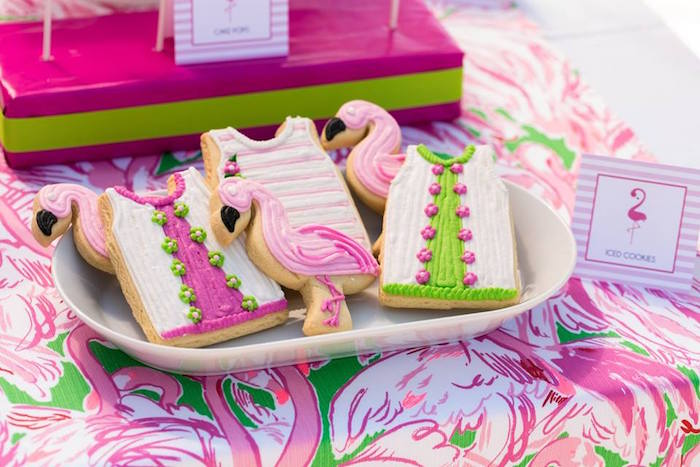 iced cookies from a lilly pulitzer inspired tropical bridal luncheon via karas party ideas