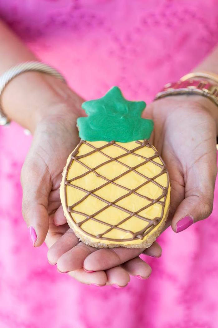 Pineapple cookie from a Lilly Pulitzer-Inspired Tropical Bridal Luncheon via Kara's Party Ideas | KarasPartyIdeas.com (15)