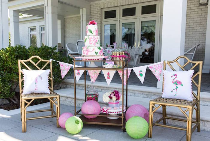 outdoor dessert drink station from a lilly pulitzer inspired tropical bridal luncheon via karas