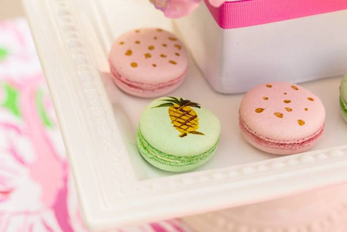 Hand-painted macarons from a Lilly Pulitzer-Inspired Tropical Bridal Luncheon via Kara's Party Ideas | KarasPartyIdeas.com (31)