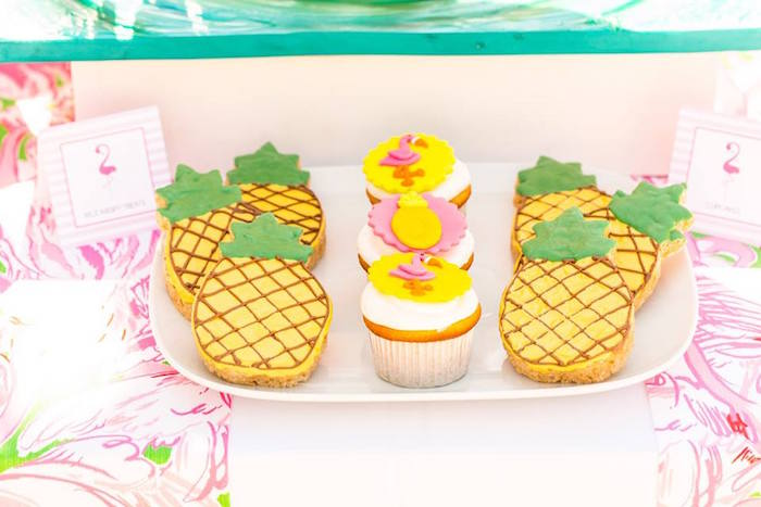 Cookies & cupcakes from a Lilly Pulitzer-Inspired Tropical Bridal Luncheon via Kara's Party Ideas | KarasPartyIdeas.com (12)