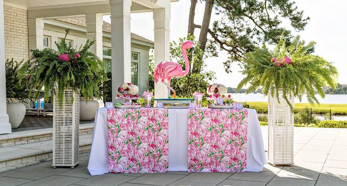 Flamingo party table from a Lilly Pulitzer-Inspired Tropical Bridal Luncheon via Kara's Party Ideas | KarasPartyIdeas.com (10)