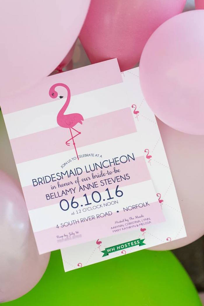 Flamingo party invitation from a Lilly Pulitzer-Inspired Tropical Bridal Luncheon via Kara's Party Ideas | KarasPartyIdeas.com (8)