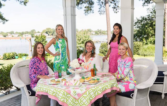 Party girls from a Lilly Pulitzer-Inspired Tropical Bridal Luncheon via Kara's Party Ideas | KarasPartyIdeas.com (7)