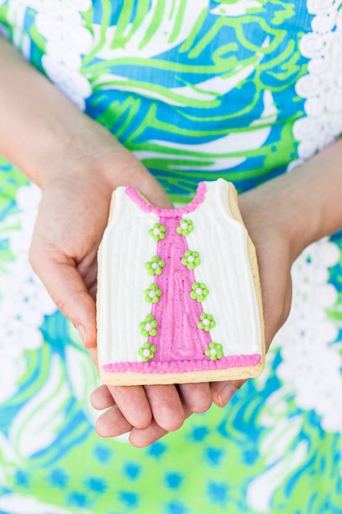Custom cookie from a Lilly Pulitzer-Inspired Tropical Bridal Luncheon via Kara's Party Ideas | KarasPartyIdeas.com (4)