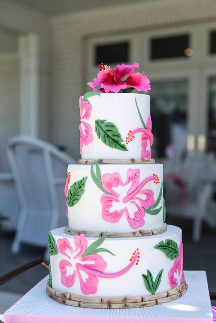 Tropical cake from a Lilly Pulitzer-Inspired Tropical Bridal Luncheon via Kara's Party Ideas | KarasPartyIdeas.com (29)