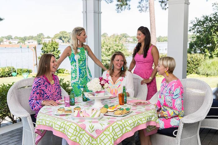 Party table from a Lilly Pulitzer-Inspired Tropical Bridal Luncheon via Kara's Party Ideas | KarasPartyIdeas.com (27)