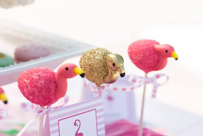 Flamingo cake pops from a Lilly Pulitzer-Inspired Tropical Bridal Luncheon via Kara's Party Ideas | KarasPartyIdeas.com (25)