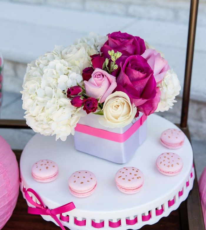 Flowers from a Lilly Pulitzer-Inspired Tropical Bridal Luncheon via Kara's Party Ideas | KarasPartyIdeas.com (23)