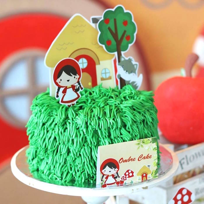 Little Red Rinding Hood Cake from a Little Red Riding Hood Birthday Party via Kara's Party Ideas | KarasPartyIdeas.com (6)