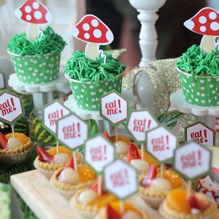 Cupcakes + fruit tarts from a Little Red Birthday Party via Kara's Party Ideas | KarasPartyIdeas.com (4)