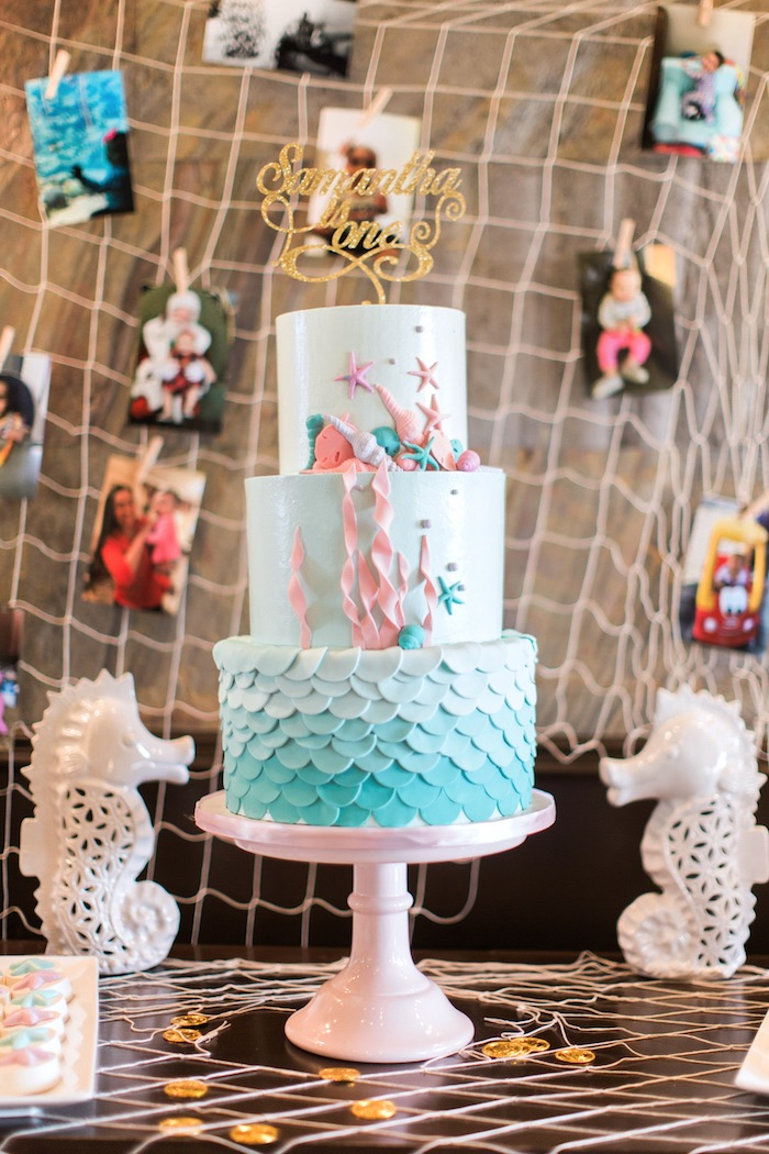 Three-tiered under the sea cake from a Mermaids & Pirates Birthday Party via Kara's Party Ideas KarasPartyIdeas.com (36)