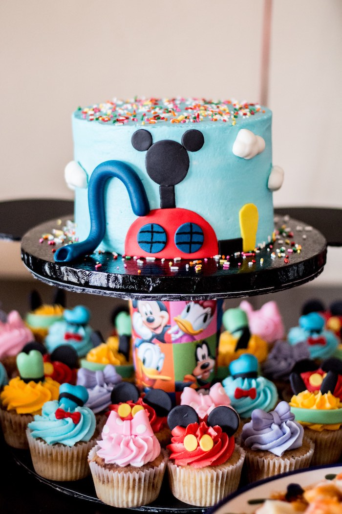 Cake & cupcakes from a Mickey Mouse Clubhouse Themed Birthday Party via Kara's Party Ideas KarasPartyIdeas.com (29)