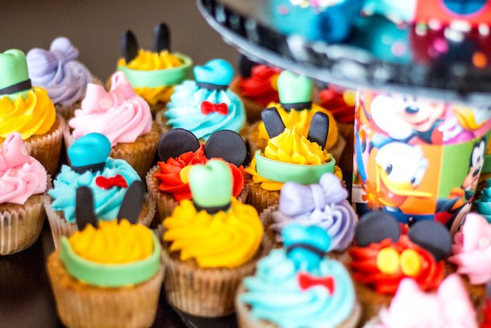 Karas Party Ideas Mickey Mouse Clubhouse character cupcakes from