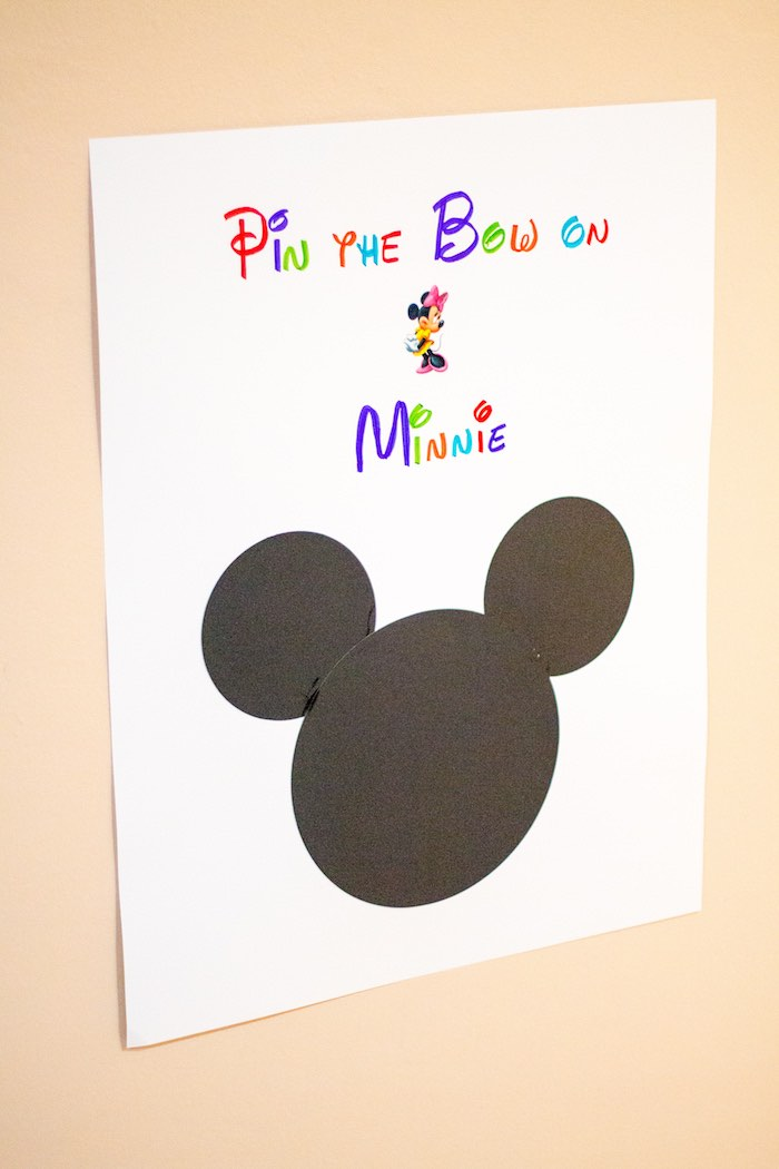 Pin the bowtie on Minnie board from a Mickey Mouse Clubhouse Themed Birthday Party via Kara's Party Ideas KarasPartyIdeas.com (15)