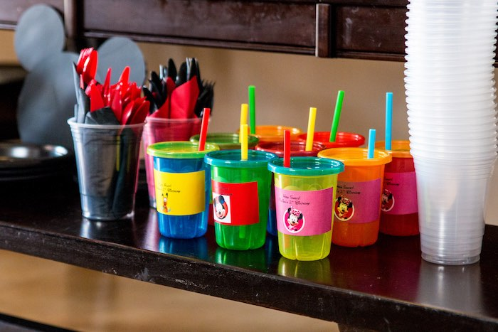 Drink table from a Mickey Mouse Clubhouse Themed Birthday Party via Kara's Party Ideas KarasPartyIdeas.com (12)
