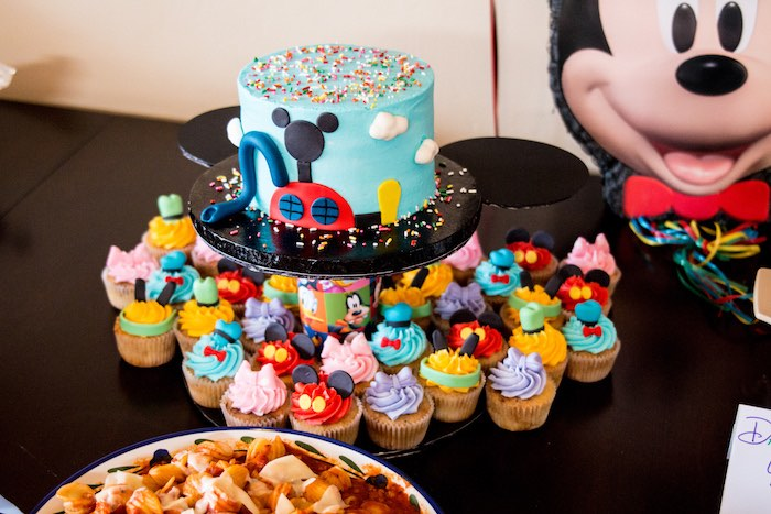 Cake + cupcakes from a Mickey Mouse Clubhouse Themed Birthday Party via Kara's Party Ideas KarasPartyIdeas.com (11)