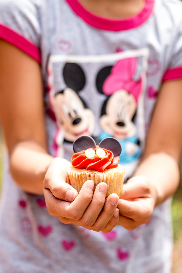 Mickey Mouse cupcake from a Mickey Mouse Clubhouse Themed Birthday Party via Kara's Party Ideas KarasPartyIdeas.com (10)
