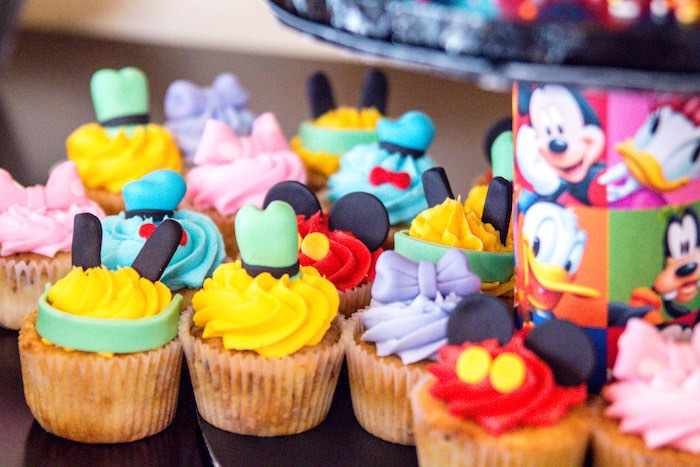 Mickey Mouse Character Cupcakes From A Clubhouse Themed Birthday Party Via Karas Ideas
