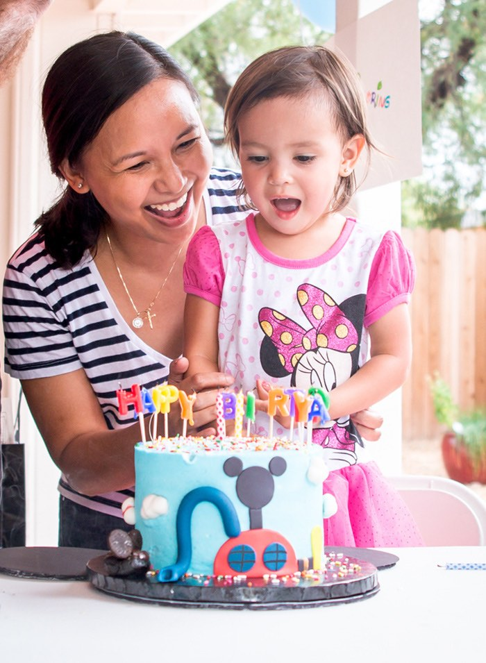 Birthday girl from a Mickey Mouse Clubhouse Themed Birthday Party via Kara's Party Ideas KarasPartyIdeas.com (3)