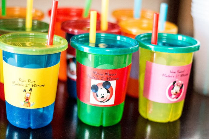 Drink cups from a Mickey Mouse Clubhouse Themed Birthday Party via Kara's Party Ideas KarasPartyIdeas.com (31)