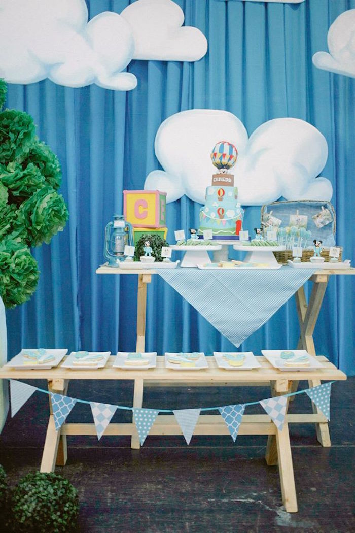 Dessert tables from a Mickey Mouse Hot Air Balloon Birthday Party via Kara's Party Ideas KarasPartyIdeas.com (17)