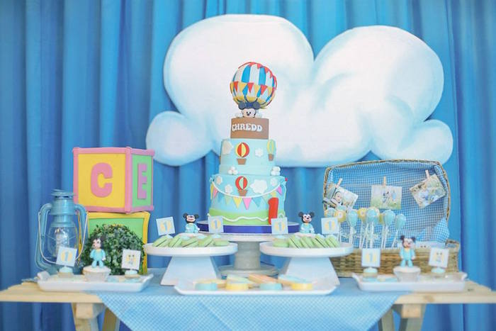 Dessert table from a Mickey Mouse Hot Air Balloon Birthday Party via Kara's Party Ideas KarasPartyIdeas.com (16)