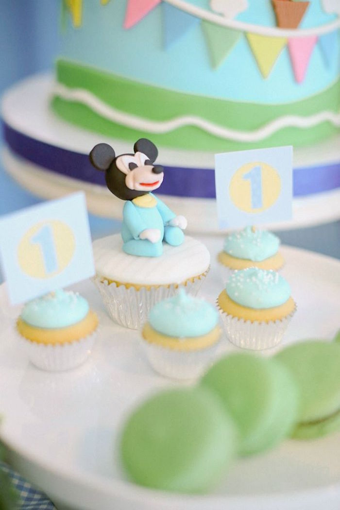 Cupcakes from a Mickey Mouse Hot Air Balloon Birthday Party via Kara's Party Ideas KarasPartyIdeas.com (6)