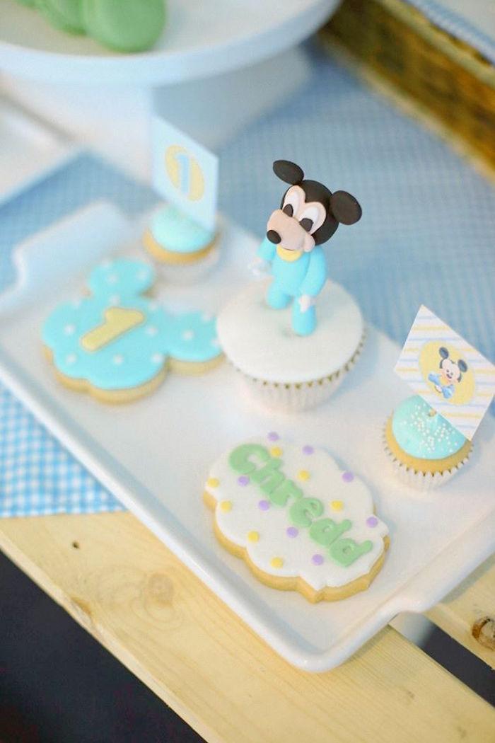 Cookies + cupcakes from a Mickey Mouse Hot Air Balloon Birthday Party via Kara's Party Ideas KarasPartyIdeas.com (4)