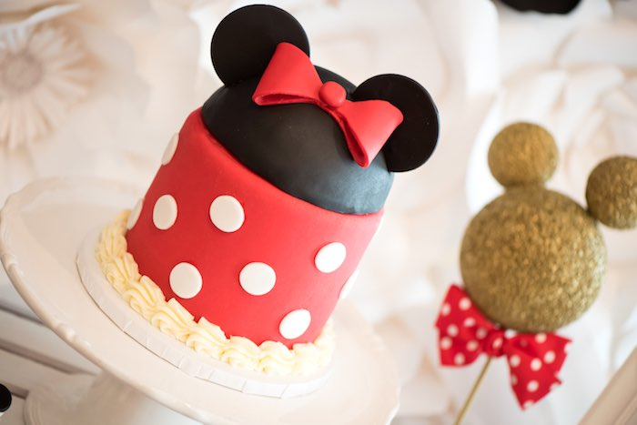 Adorable Minnie Mouse Cake from a Minnie Mouse Birthday Party via Kara's Party Ideas | KarasPartyIdeas.com (15)