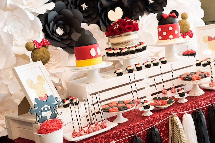 Dessert tablescape from a Minnie Mouse Birthday Party via Kara's Party Ideas | KarasPartyIdeas.com (12)