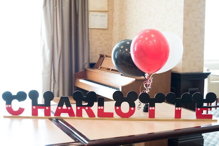 Mickey Mouse Block Letter Banner from a Minnie Mouse Birthday Party via Kara's Party Ideas | KarasPartyIdeas.com (10)