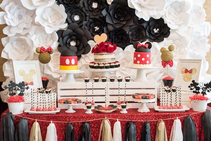 Dessert table from a Minnie Mouse Birthday Party via Kara's Party Ideas | KarasPartyIdeas.com (9)