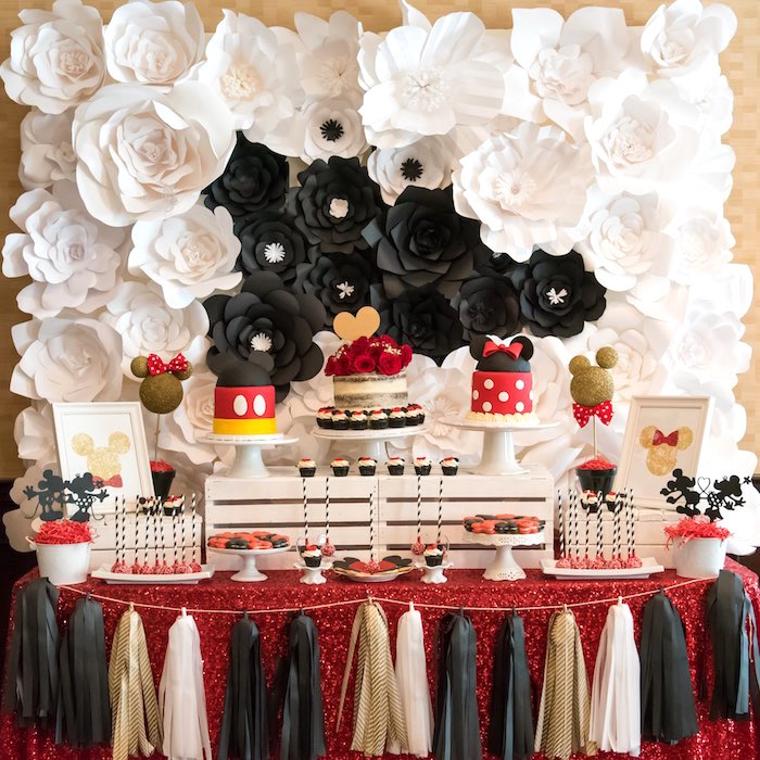 Head table from a Chic Minnie Mouse Birthday Party via Kara's Party Ideas | KarasPartyIdeas.com (24)